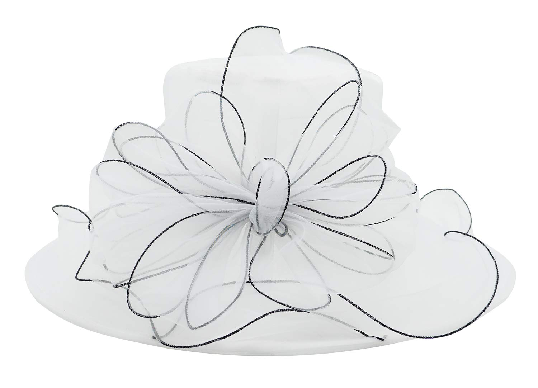 Bellady Women's Church Derby Dress Fascinator Bridal Cap Tea Party Wedding Hat,White Church Hat by Bellady
