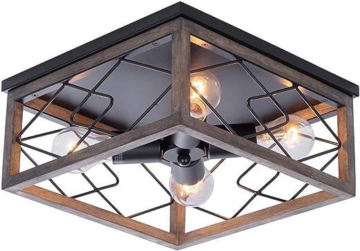 Lámpara de techo Farmhouse iluminación de Plafón rústica de metal negro, lámpara de araña de jaula de alambre cuadrado industrial con 4 portalámparas E27 para pasillo, cocina, comedor, sala de estar [Clase de eficiencia energética A]