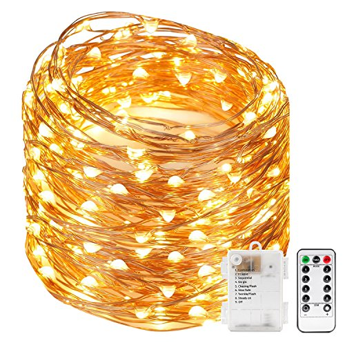 Kohree 120 Micro LEDs Fairy String Lights Battery Powered 40ft Long Ultra Thin String Copper Wire Lights with Remote Control and Timer Perfect for Weddings,Party,Bedroom-2C Batteries powered (Timer With Lights String)