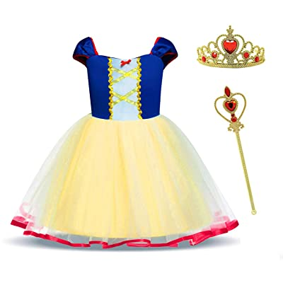 MYZLS Little Girls Princess Dress up Toddler Elegant Fancy Party Costume Dress Halloween Dress Up Outfit for 1-6 Years: Clothing