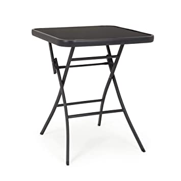 ARREDinITALY Table bistrot Pliable 60 x 60 cm avec Plateau en Verre ...