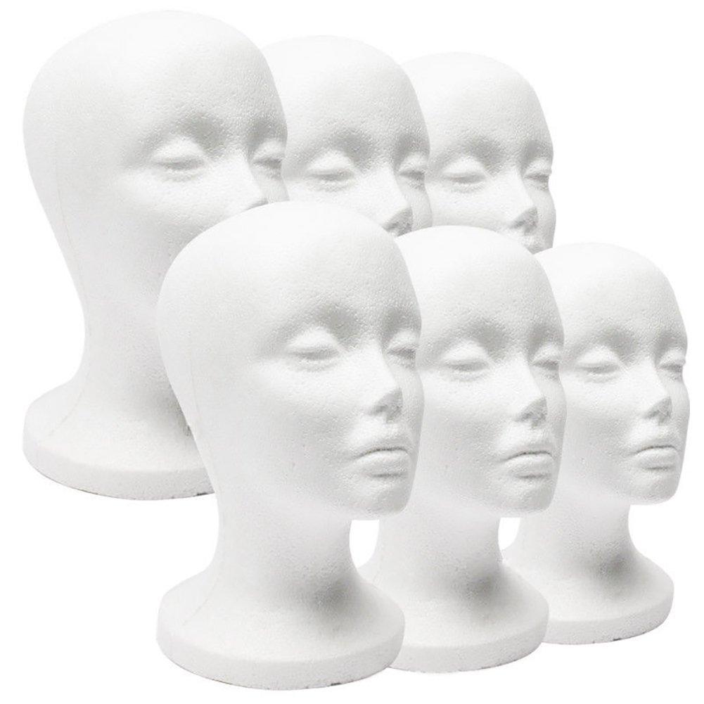 CHoppyWAVE Mannequin Head, Female Foam Mannequin Head Model Hat Wig Jewelry Holder Shop Display Stand Rack