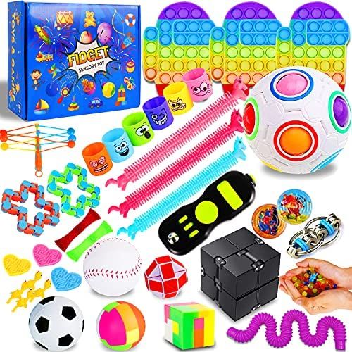 IGINOA 41 Pack Fidget Figetget Sensory Toy Box Set Pop Popping Figit Anxiety Autism Stress Relieve Relief Pressure Bubble Silicone Game Gift Special Need Kid Teen Adult Friend ADHD Rainbow