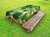 Lunarable Bamboo Outdoor Tablecloth, Low Angle View of Bamboo Tree Tops Asian Zen Tranquil Lands Jungle Meditation Spa Theme, Decorative Washable Picnic Table Cloth, 58 X 104 inches, Green