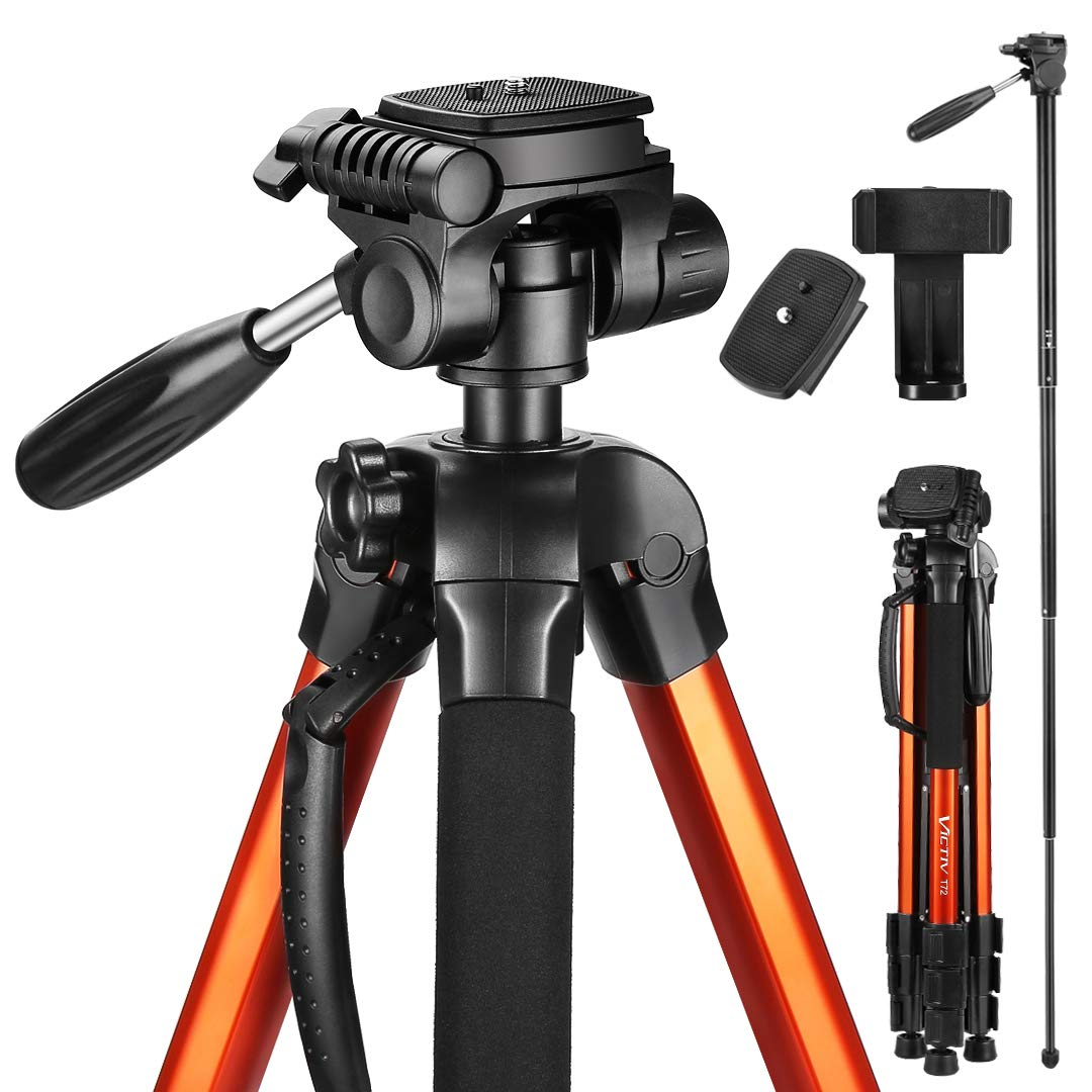 Victiv 72-inch Compact Tripod for Camera, Durable Aluminum Stand for YouTube Videos, Live Webcasts, Lightweight Monopod with Phone Mount Holder and 2 Quick Release Plates for Canon Nikon - Orange by Victiv