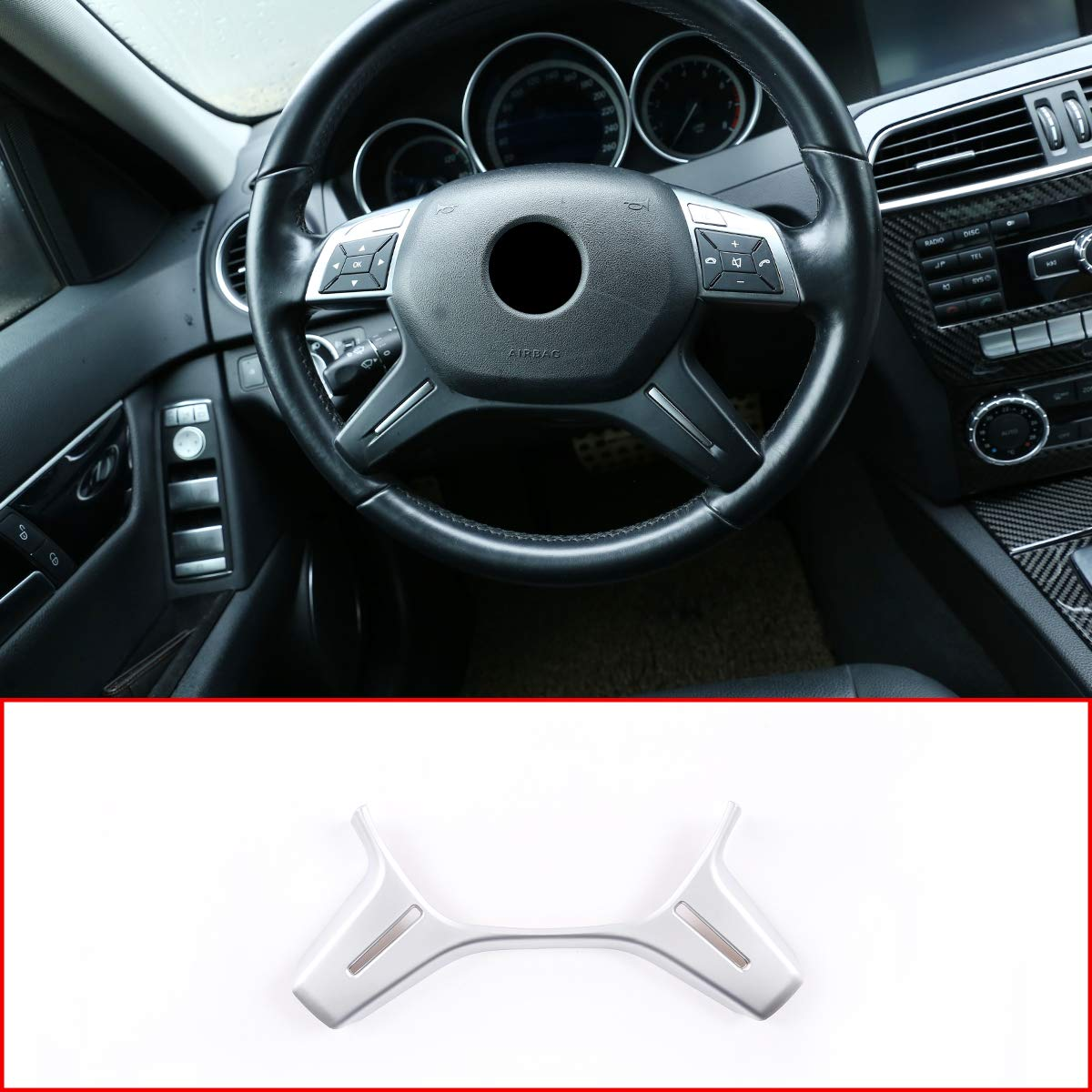 Accessoires de d/écoration pour volant de voiture E ML GL Classe W212 X166 W166 DIYUCAR 2013 D/écoration de volant de voiture en ABS chrom/é argent/é mat pour Benz Classe C W204 C180 C200 2011