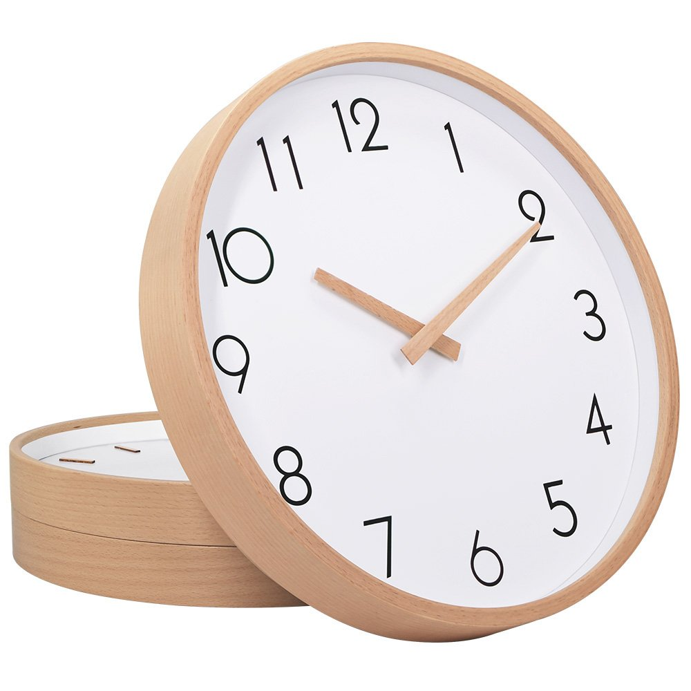Wall Clock Wood 12'' Silent Large Wood Wall Clocks Digital Wall Clock Non Ticking for Night Table Kitchen Office Vintage Home Decor (1)