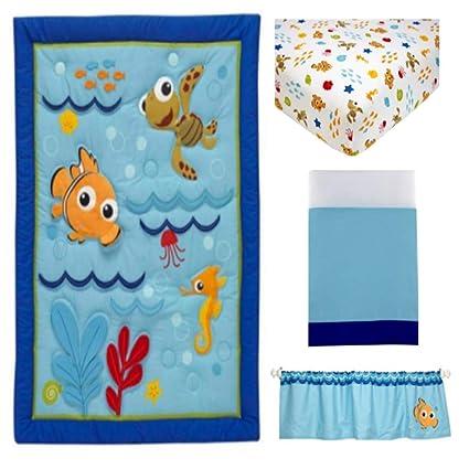 4 piezas azul verde naranja bebé Nemo cuna juego de cama, recién ...