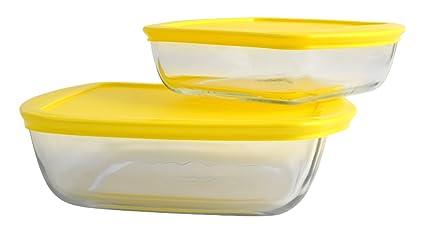 Pyrex 2 bandejas Cook & Store cuadradas, Tapas variadas, Cristal, Transparente, 26