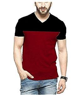 STYLENSE Men's Half Sleeve V-Neck Cotton T-Shirt - Multicolor Black