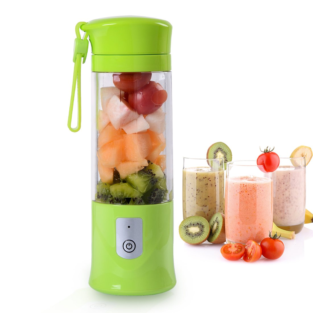 Portable Blender Ordergo USB Juicer Cup Fruit Smoothie Baby Food Mixing Machine with Powerful Motor 2x2000mAh High Capacity Batteries - Green ZSK