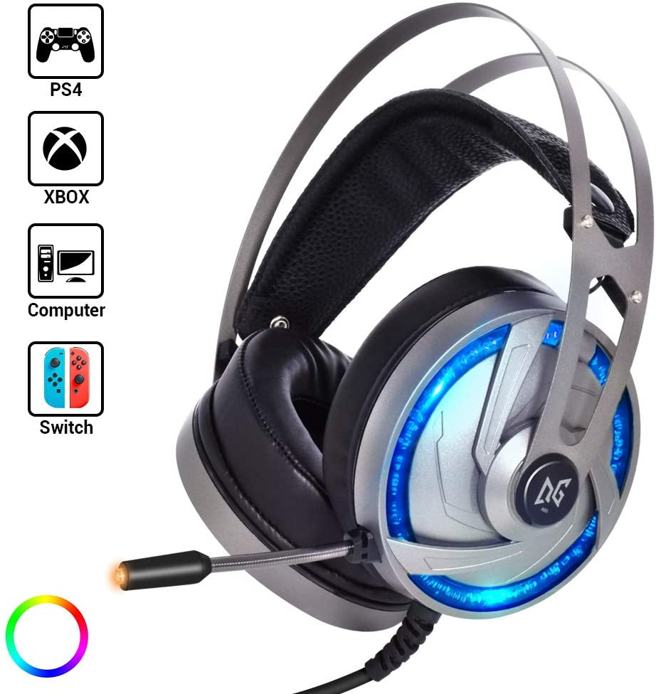 LETOUR Gaming Headset Upgraded Version, with Mic, 50mm Speaker Driver, 3D Surround Sound, in Line Control,RGB LED Light, Professional Gaming