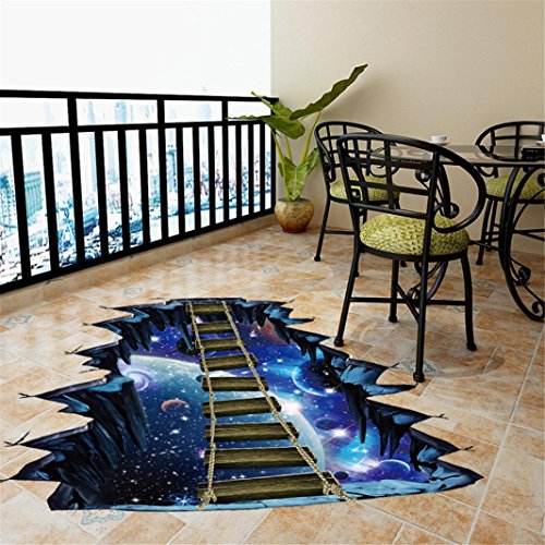 Coohole 3D Star Galaxy Floor Wall Sticker Removable Mural Decals Vinyl Art Room Home Decor (35x24inch, Blue)