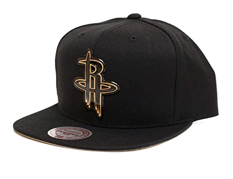 timeless design 3c869 2e786 Image Unavailable. Image not available for. Color  Mitchell   Ness Houston  Rockets Presto Adjustable Snapback Hat Black Gold