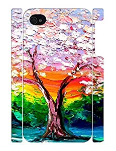 Creative Glam Painting Tree Durable TPU Phone Skin Case Fits for Iphone 4 4S