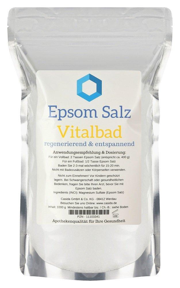 Epsom Salz Vitalbad – Sales de Epsom originales – magnesio, para baño – 1000 g – ideales para baño completo o de pies: Amazon.es: Belleza