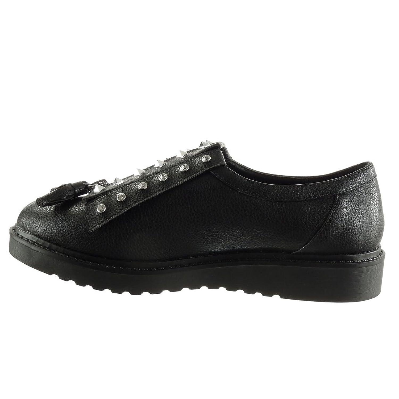 Angkorly Damen Schuhe Derby-Schuh - Plateauschuhe - Nieten - Besetzt - Reißverschluss - genarbtem Keilabsatz 2.5 cm - Schwarz JN1009 T 36 8oSzIZpGtE