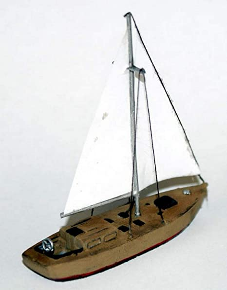 30ft Wooden Built Sailing Yacht  N Scale 1:148 UNPAINTED Model Kit  Boats  and Ships / Water Scene