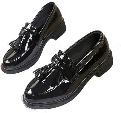 Noir Rouge Femmes de Glissement Sur Cuir Verni chaussures