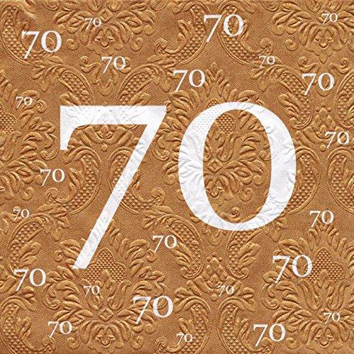 Serviettes 70 ans inscription lot de 20 serviettes de table 3 plis 33 x 33 cm