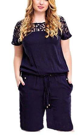 f9ac3333c07 Jaycargogo Women s Plus Size Short Sleeve Drawstring Short Jumpsuit Romper  ...