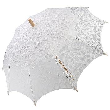 Flores de Encaje Niñas Madera sombrilla paraguas para fiestas de novia, color blanco/Beige
