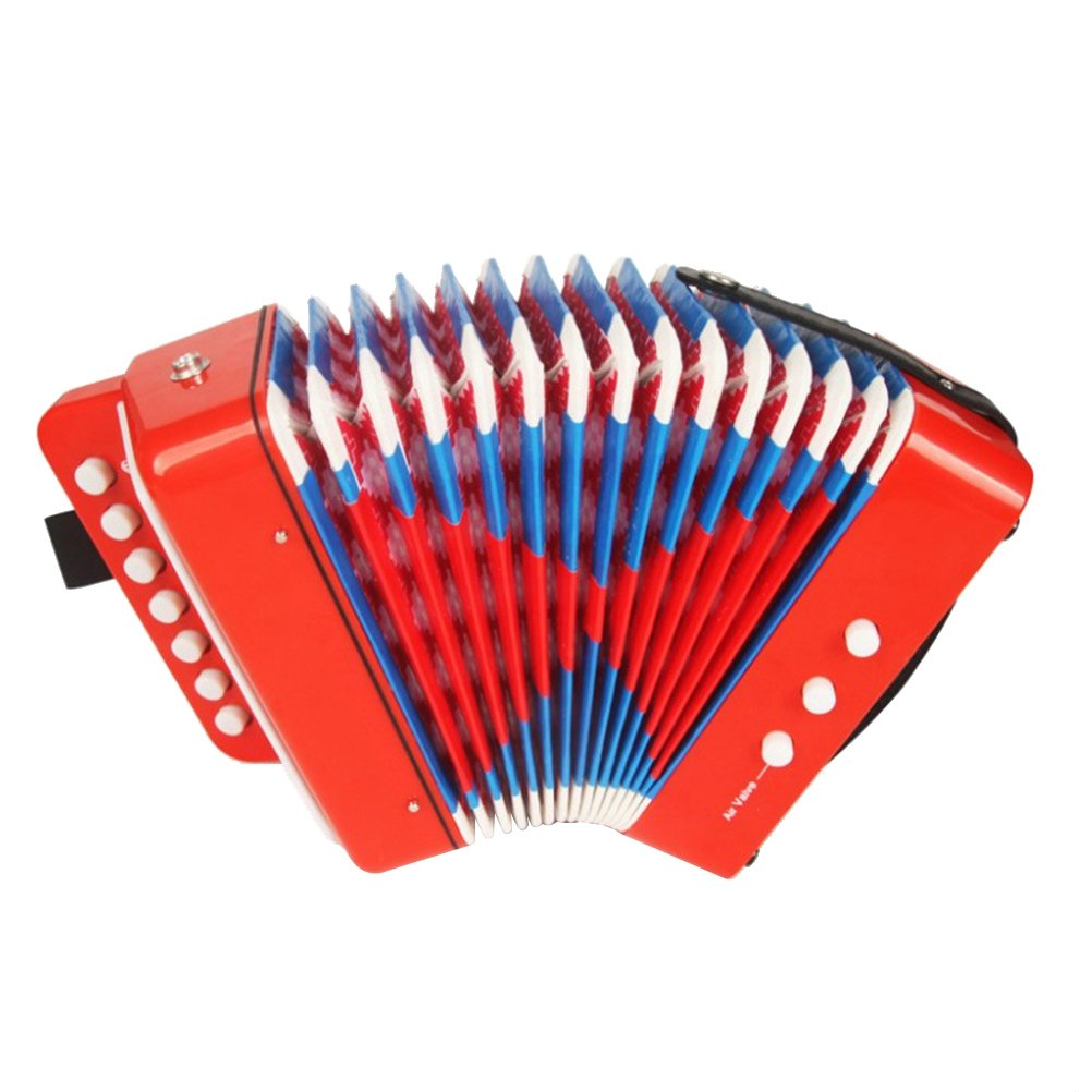 YeahiBaby Accordion Musical Toy Kids Piano Accordion Solo and Ensemble Instrument Early Educational Toy (Red)