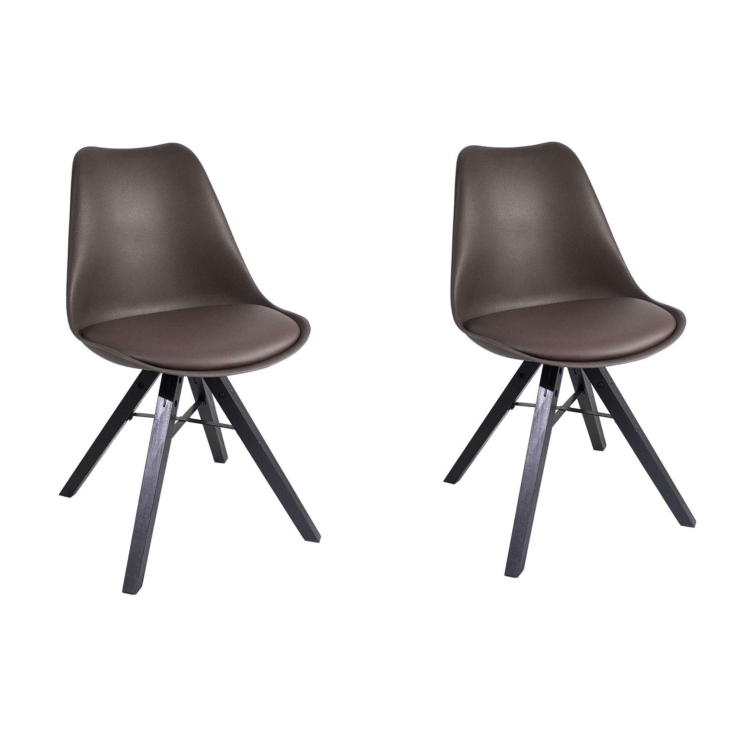 YUIKY Modern Dining Chair Set of 2 Padded Seat Natural Wood Legs Chair (Brown)