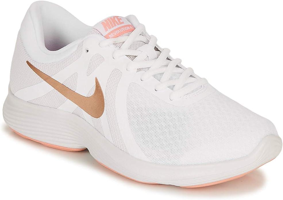Nike Revolution 4 Sneakers Laufschuhe Damen Weiß mit Bronze Streifen