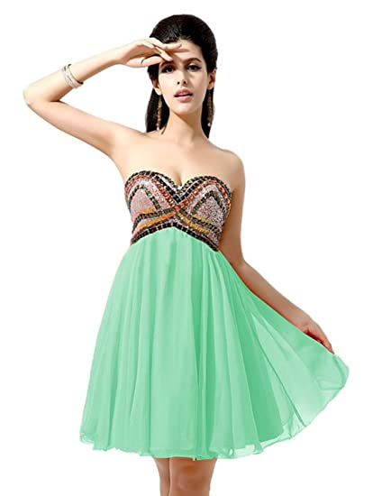 Sarahbridal Womens Sweetheart Mini Chiffon Beaded Prom Party Dresses Juniors Graduation Homecoming Dress Short SAJ021 Mint