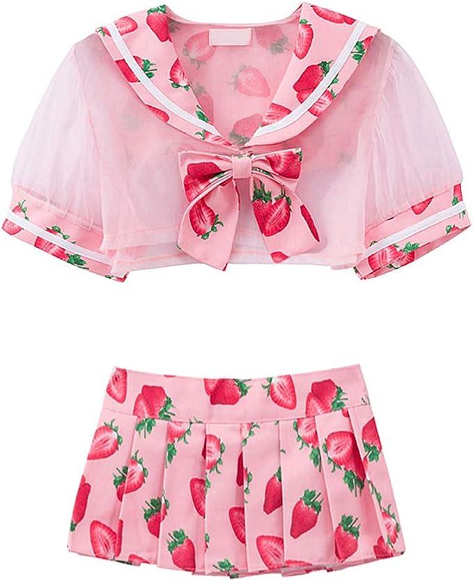 Amazon.com: Tomori lindo Sailor vestido lolita fresa Impreso ...
