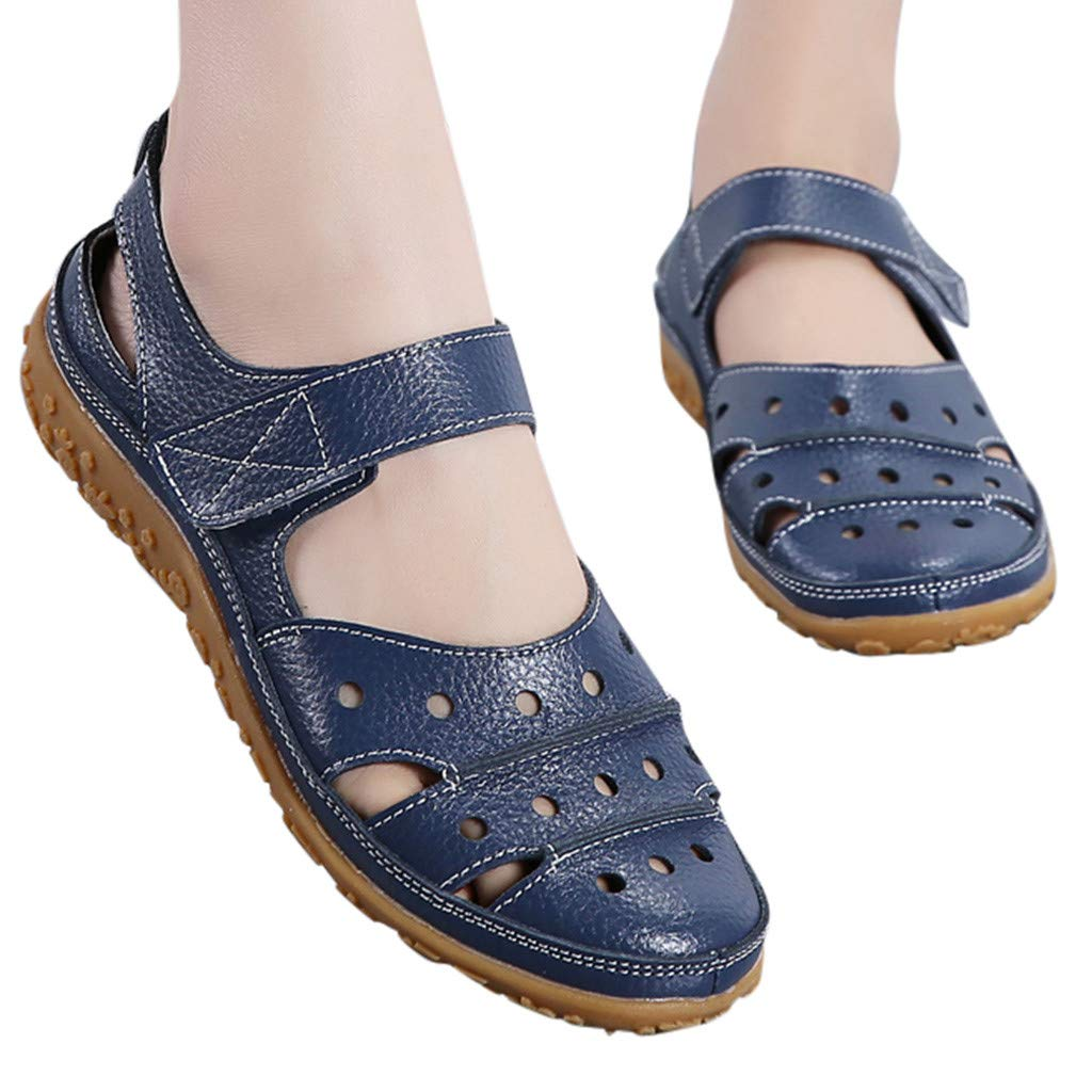 Women's Slip On Loafers Hollow Out Breathable Roman Sandals Casual Comfort Walking Flats Shoes (Light Blue, 8.5 M US) by Sinaou Women Shoes (Image #2)