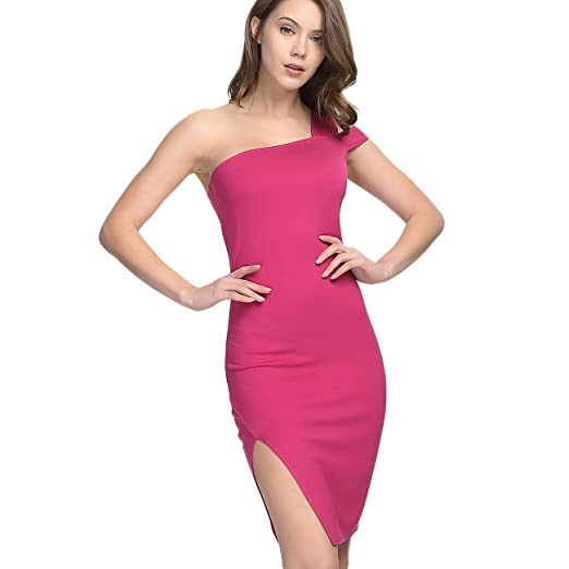 1a2a6083c76 Miss Bec Sexy Women Party Dresses One Shoulder Pink Midi Side Slit ...