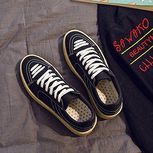 Dimensione Mocassini Sneakers Bianca in amp;Baby pelle Scarpe in dalla PU uomo Sunny piatte 41 canvas Color all'abrasione Resistente Low sportive da casual EU Nero Top suola resistente 8YgwOxqB
