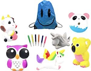 6 Pack Squishies Slow Rising Toys, Stress Relief Gifts, Slow Rising Stress Toys, Squishy Fidget Toys for Kids Adults, Include 6 Pcs Animals, 6 Color Pens for DIY Drawing