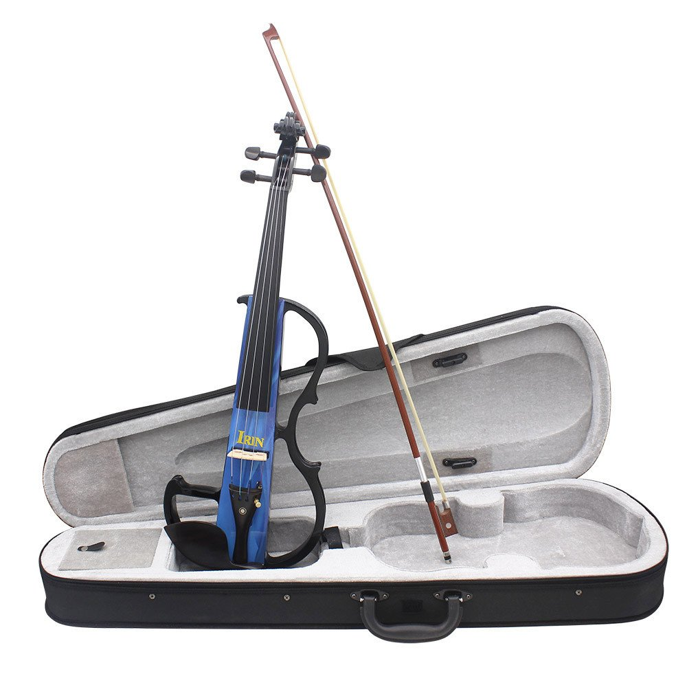 ammoon Full Size 4/4 Electric Violin Fiddle Maple Wood Stringed Instrument Ebony Fretboard Chin Rest with 1/4 Connecting Cable Earphone Case for Music Lovers Beginners