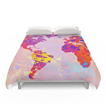 Amazon society6 what a colorful world map duvet covers full 79 society6 what a colorful world map duvet covers full 79quot gumiabroncs Image collections
