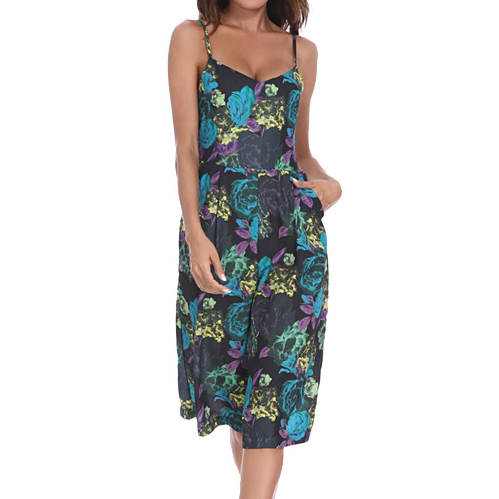 NREALY Jumpsuit Womens Casual Floral Printed Strapless V-Neck Sleeveless Pockets Loose Playsuit