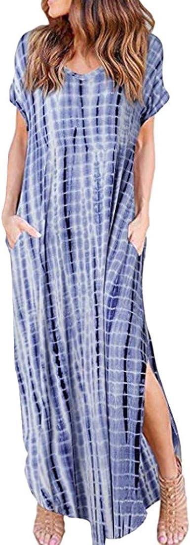 Vestido Largo con Estampado de Tinte para Mujer Vestido ...