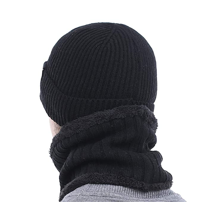 Winter Hat Knitted Hat Scarf Skullies Beanies Men Winter Beanies Gorras Wool Bonnet Mask Male Hat Cap Black at Amazon Womens Clothing store: