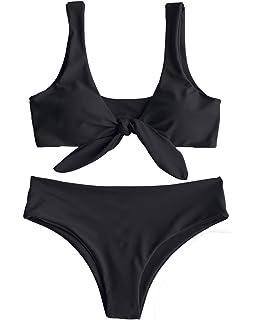 9151be6391 ZAFUL Women Two Pieces Swimwear Swimsuit Knotted Padded Scoop Bikini Sets  Beachwear Bathing Suit Camel