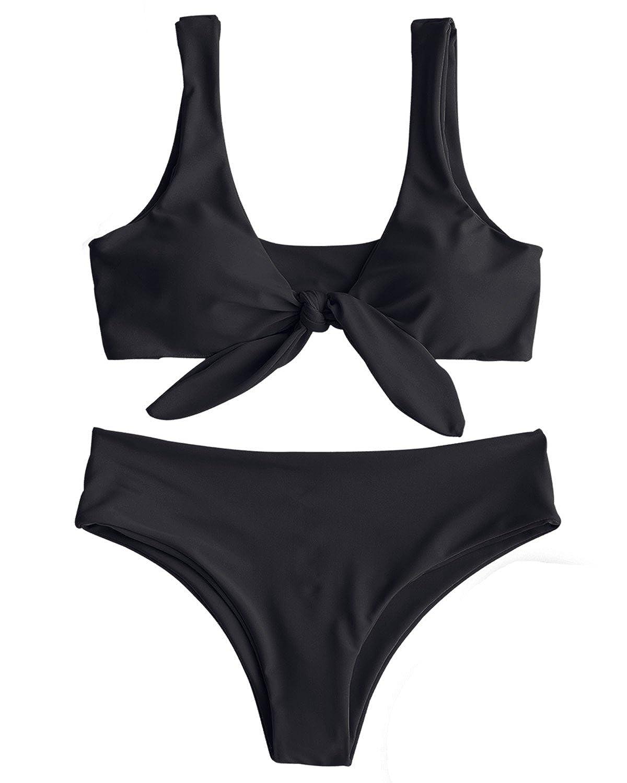 aba4b657f706c Amazon.com  ZAFUL Women Two Pieces Swimwear Swimsuit Knotted Padded Scoop Bikini  Sets Beachwear Bathing Suit Camel  Clothing