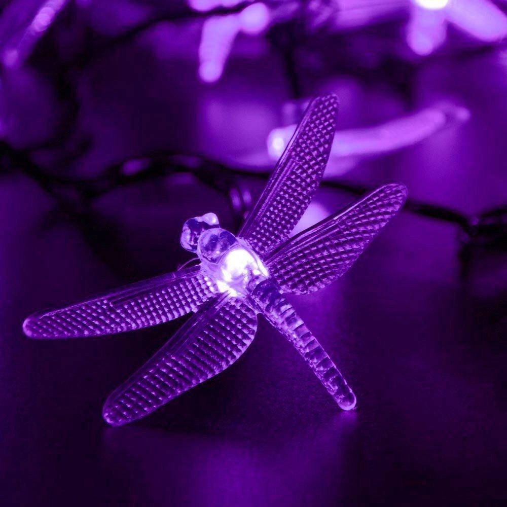 Tuscom 5 M 20LED Solar Hard Dragonfly Light String Fairy Tale Indoor Outdoor Decorative Light Garden/Garden / Party/Christmas Tree/Wedding / Dormitory/Room Decoration (5 Colors) (Purple)