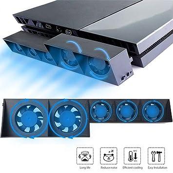 EEEKit Ventilador de enfriamiento para PS4, USB Refrigerador Externo 5 Ventilador Turbo Control de Temperatura Ventiladores de enfriamiento para Sony ...