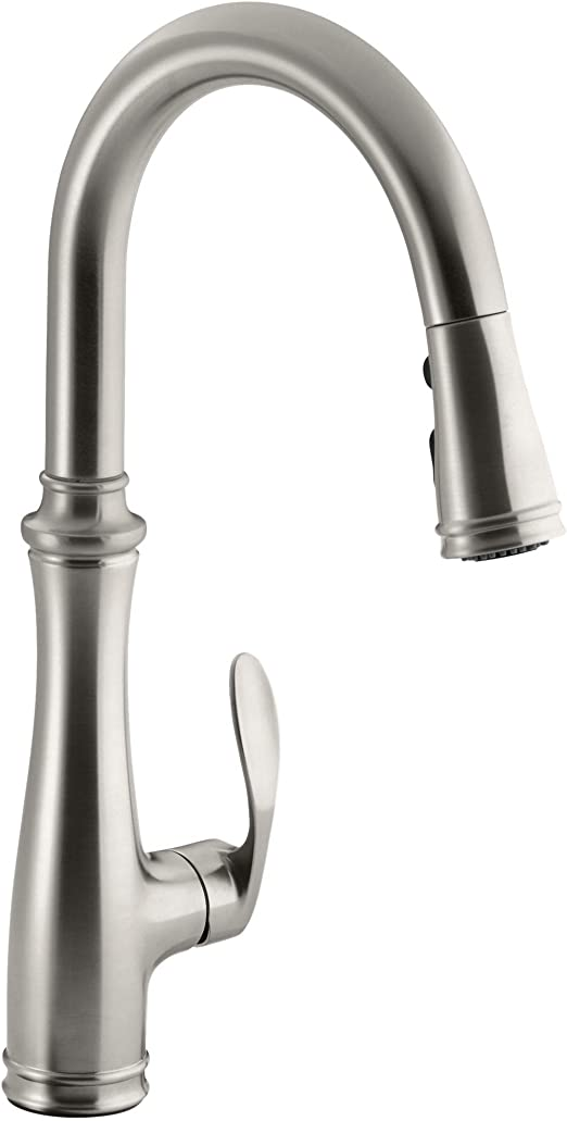 Kohler K 560 Vs Bellera Pull Down Kitchen Faucet Vibrant Stainless Steel Single Hole Or Three Hole Install Single Handle 3 Function Spray Head