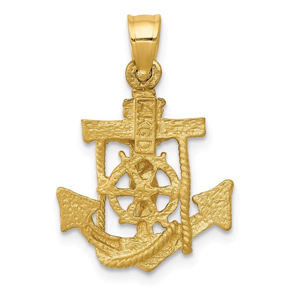14k Yellow Gold Mariners Cross Pendant 24mm Length
