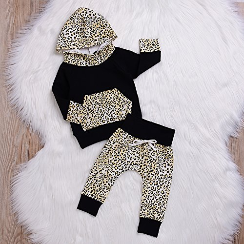 Mekilyn 2Pcs Baby Boy Girls Hooded Pocket Leopard T-shirt Top With Long Print Pant Warm Clothes (0-6Months, Leopard)