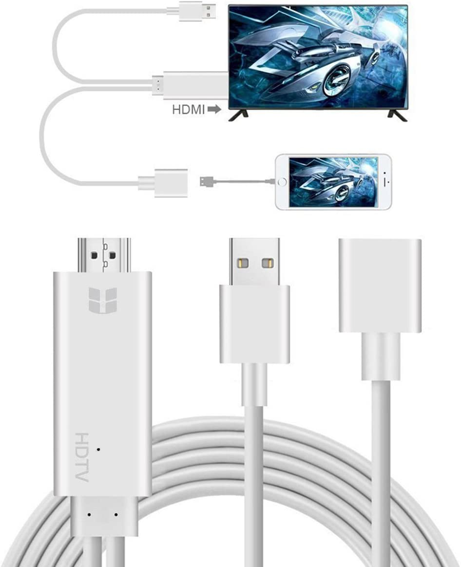 iPhone HDMI Cables Adapter, S7 HDMI Cable to TV, Lightning to HDMI 1080P Digital AV Adapter, 3 Feet Metal 3 in 1 Smartphone to HDMI/Micro USB/TYPE C Adapter for iPhone/iPad/S9/S8/Note 8 and More