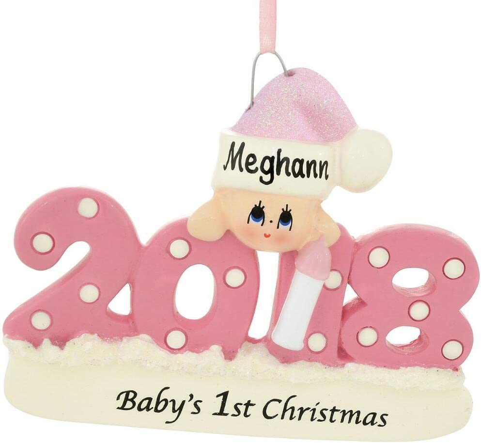 Rudolph and Me 2018 Baby's 1st Christmas Ornament Personalized - Blue Boy, Pink Girl, or Red (Pink Girl)