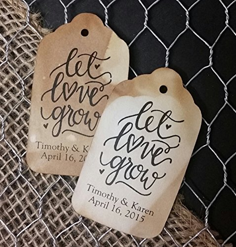 Let Love Grow Personalized Tea Stained Favor Tag set of 50 tags